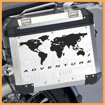 Bmw Motorcycle R1200Gs/gsa/f800Gs World Map L/r.panniers/cases Decal/stickers.!!