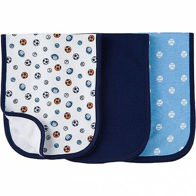 Gerber Baby Boys 3 Pack Burp Cloths Terry Lined NEW Sports Designs CUTE