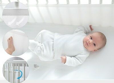 2 sizes 180, 360cm Bump Air Breathable Baby Cot Bumper Bed Surround Aero Mesh 3D