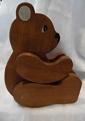 Vintage Wood Carved Articulated Bear Cute Expression