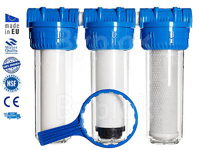 3 Stage whole house high flow water filter dechlorinator chlorine removal 3/4""