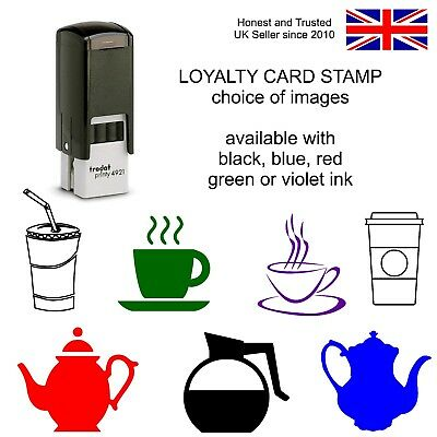 Loyalty Card Reward Rubber Stamp coffee Cup Carton Teapot Self Inking cafe bar