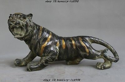 """12""""Old Chinese Fengshui Bronze gilt ferocious Running Animal Tiger Tigers Statue"""