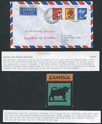 ZAMBIA: (1712) Rhodesia/buffalo/Zambia Regiment/cancel/cover