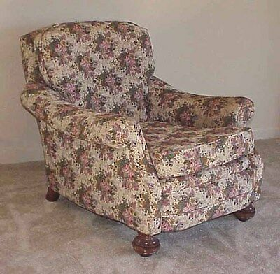 Vintage Upholstered Living Room Arm Chair - Floral Fabric