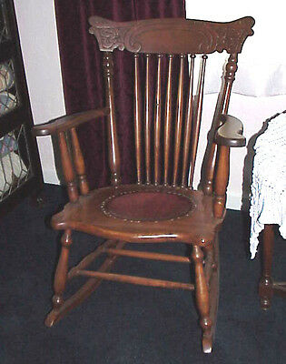 VTG Wooden Rocking chair Leather Seat