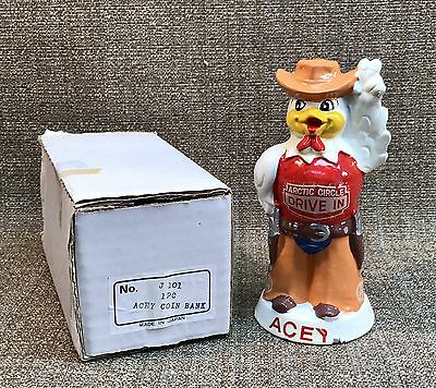 Fast Food Advertising figure ACEY the Chicken ARCTIC CIRCLE DRIVE IN coin bank