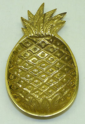 Vintage Solid Brass Pineapple Pin Trinket Dish Spoon Tea Bag Rest Hawaiian Tiki