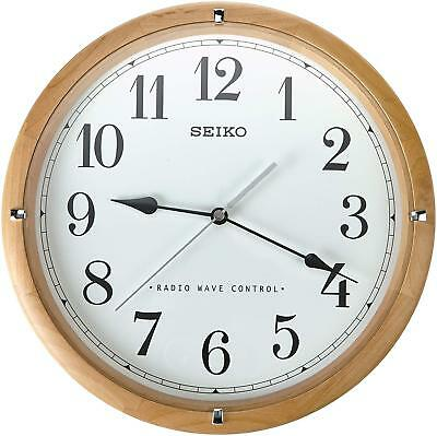 Seiko Radio Controlled Wooden Wall Clock White Dial Black Numerals Home Office