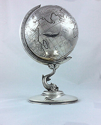 Vintage Sterling silver table top desk globe Dolphin base West Germany made