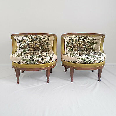 2 HOLLYWOOD REGENCY round barrel back accent chairs mid century modern vtg
