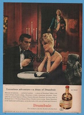 1960 Drambuie Liqueur Scotch Whiskey Saks Fifth Avenue Elegant Fashion Photo Ad