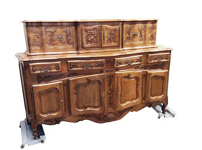 Antique French Country Dining Room Server Sideboard Solid Walnut