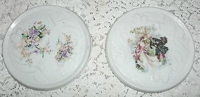 ANTIQUE LOT OF 2 LOVELY PORCELAIN TRIVETS, hot plates,ROMANTIC SCENE,VIOLETS