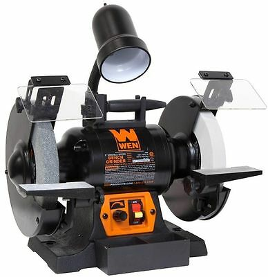 """Corded Variable Speed Bench Grinder WEN 5 Amp 8"""" With Flexible Work Light"""