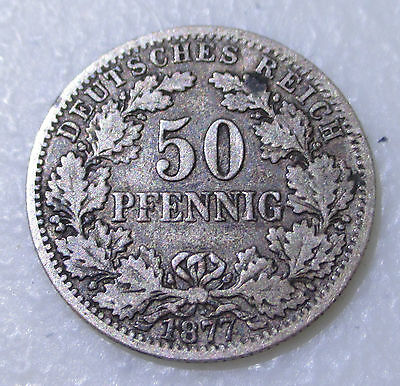 1877 German 50 Pfennig Silver Foreign Coin - Lot S16