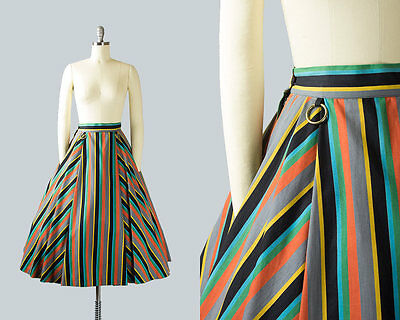 Vintage 1950s Circle Skirt | 50s Striped Cotton Pleated Swing Skirt