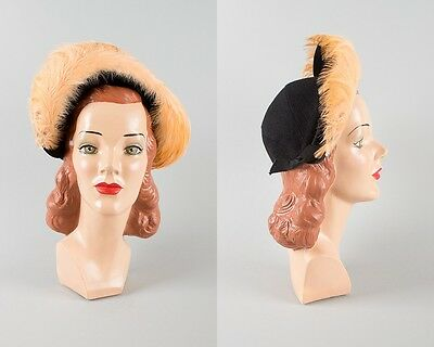 Vintage 1940s Hat | 40s Black Wool Felt Peach Feathers Cocktail Halo Hat