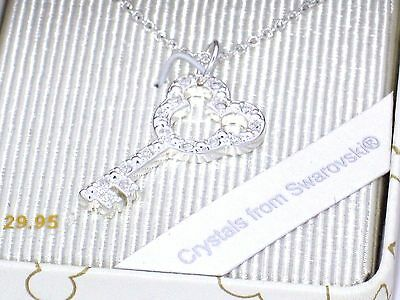 Disney Park Necklace✿Silver Mickey Key Lock Made with Crystals from Swarovski ®