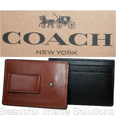 Coach Men's Women's Black or Saddle Leather Card ID Case Money Clip F75459