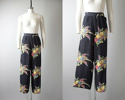 Vintage 1940s Pants | 40s Floral Cold Rayon Navy Blue Wide Leg Lounge Pants