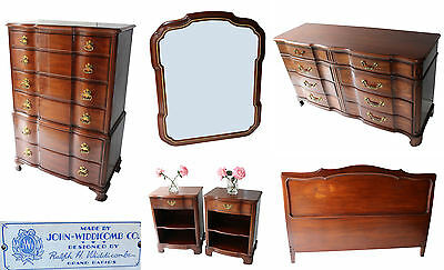 6pc JOHN WIDDICOMB Stickley FRENCH Solid Mahogany BEDROOM SET Queen Bed Dresser