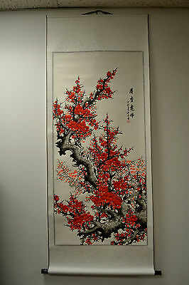 """Chinese Scroll Painting Home Decor Cherry Blossom 68""""L 73-128"""