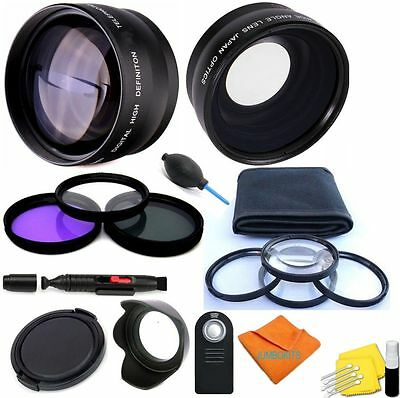 Wide Angle Lens + Telephoto Zoom Lens 21Pcs Accessory Kit For Canon Eos Rebel T5