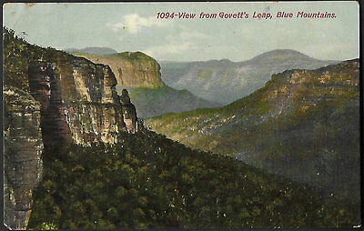 Vintage Postcard - View From Govett's Leap Blue Mountains NSW - Free Post