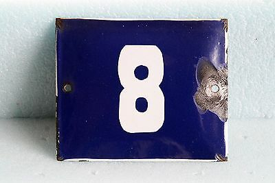 Antique French BLUE ENAMEL PORCELAIN SIGN PLATE HOUSE STREET DOOR NUMBER 8