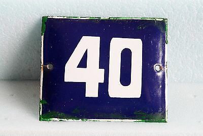 Antique French BLUE ENAMEL PORCELAIN SIGN PLATE HOUSE STREET DOOR NUMBER 40