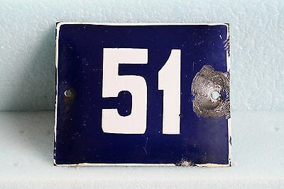 Antique French BLUE ENAMEL PORCELAIN SIGN PLATE HOUSE STREET DOOR NUMBER 51