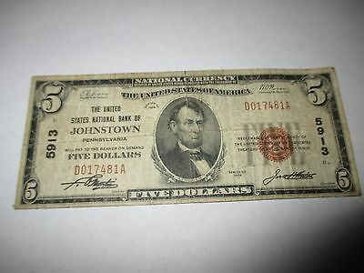 $5 1929 Johnstown Pennsylvania PA National Currency Bank Note Bill #5913 Fine