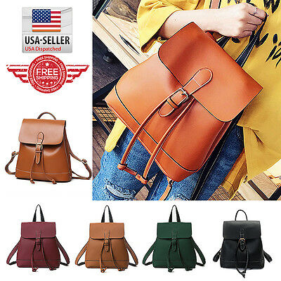 Fashion Women Leather Backpack School Bag Travel Rucksack Shoulder Bag B7