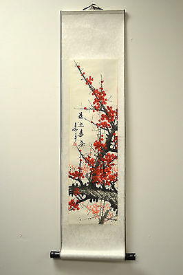 "Chinese Scroll Painting Home Decor Cherry Blossom 68""L 73-128c"