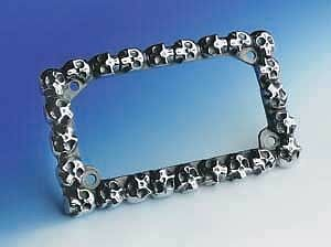 Skull Enterprises Polished Aluminum Skull License Plate Frame  oem