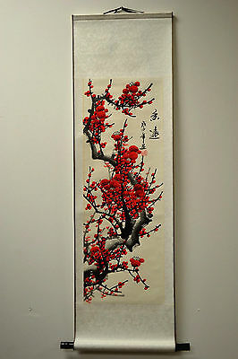 """Chinese Scroll Painting Home Decor Cherry Blossom 39.5""""L 73-128f"""