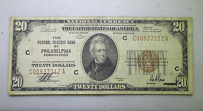 1929 $20 Federal Reserve Bank Philadelphia PA National Banknote - Lot N267