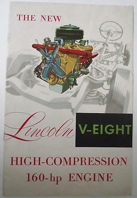 1952 Lincoln V-Eight V8 Engine Brochure Hot Rod Lincoln