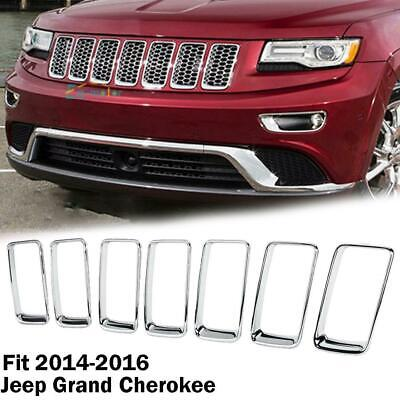 Chrome Front Grille Vent Hole Trim Ring Insert For 2014-2016 Jeep Grand Cherokee
