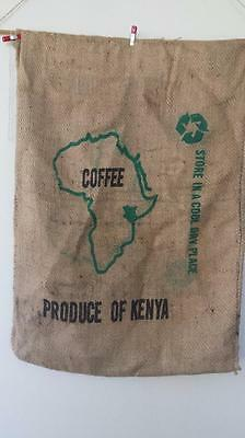 Hessian Sack Out of Kenya, Africa, Map Print with graphics on rear   Burlap Bag