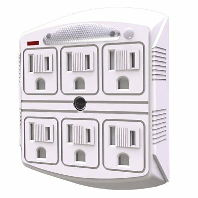 Stanley 33208 6 Outlet Surge Protected Wall Adapter With Night Light,33250