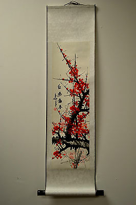 """Chinese Scroll Painting Home Decor Cherry Blossom 38""""L 73-128j"""