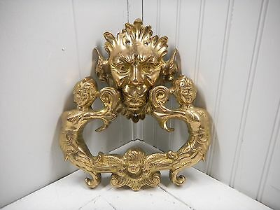 Vintage Antique Cast Iron Brass Bronze Gargoyle Angels Cherub Door Knocker HEAVY
