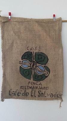 Small Hessian Sack From El Salvador Flower design Unique Rare Burlap Bag