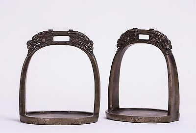 A Pair Of Bronze Horse Saddle Foot Stand