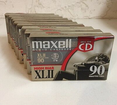 Lot of 10 New Maxell XLII 90 Position High Bias 90 Minute Audio Cassette Tapes