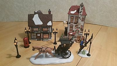 Dept 56 Dickens Village - The King's Road 2 Shops Set, Cab, Lamplighter, Lamps
