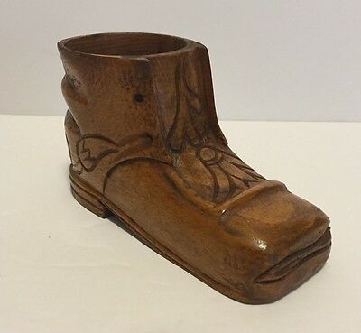 Antique Treen Hand Carved Wood Baby Shoe – Unique Piece!
