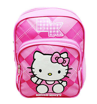 "Sanrio Hello Kitty Fullbody With Bear 12/"" Canvas Pink Grils School Backpack"
